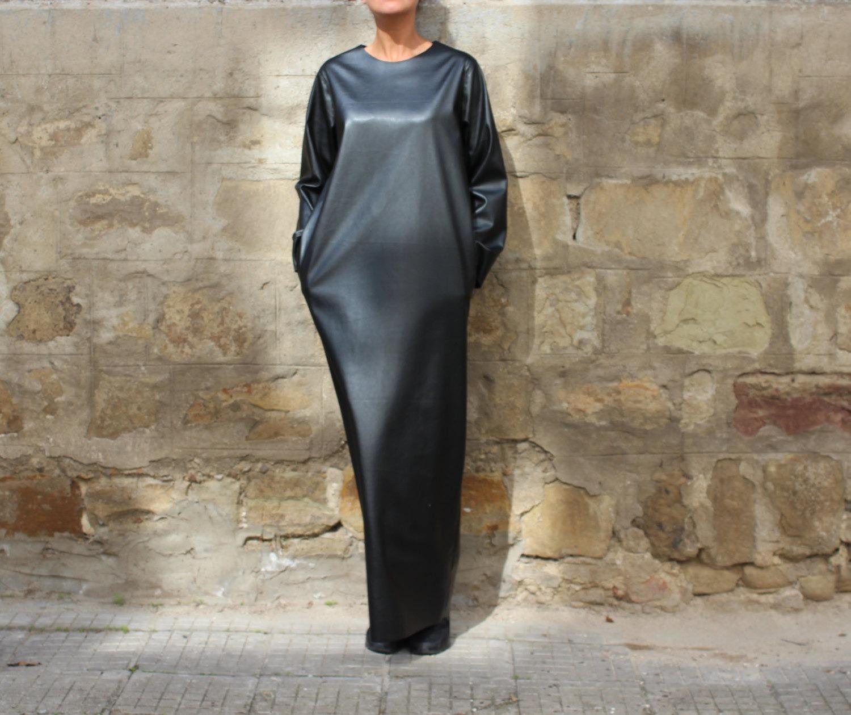 Plus Size Maxi Dress Black Leather