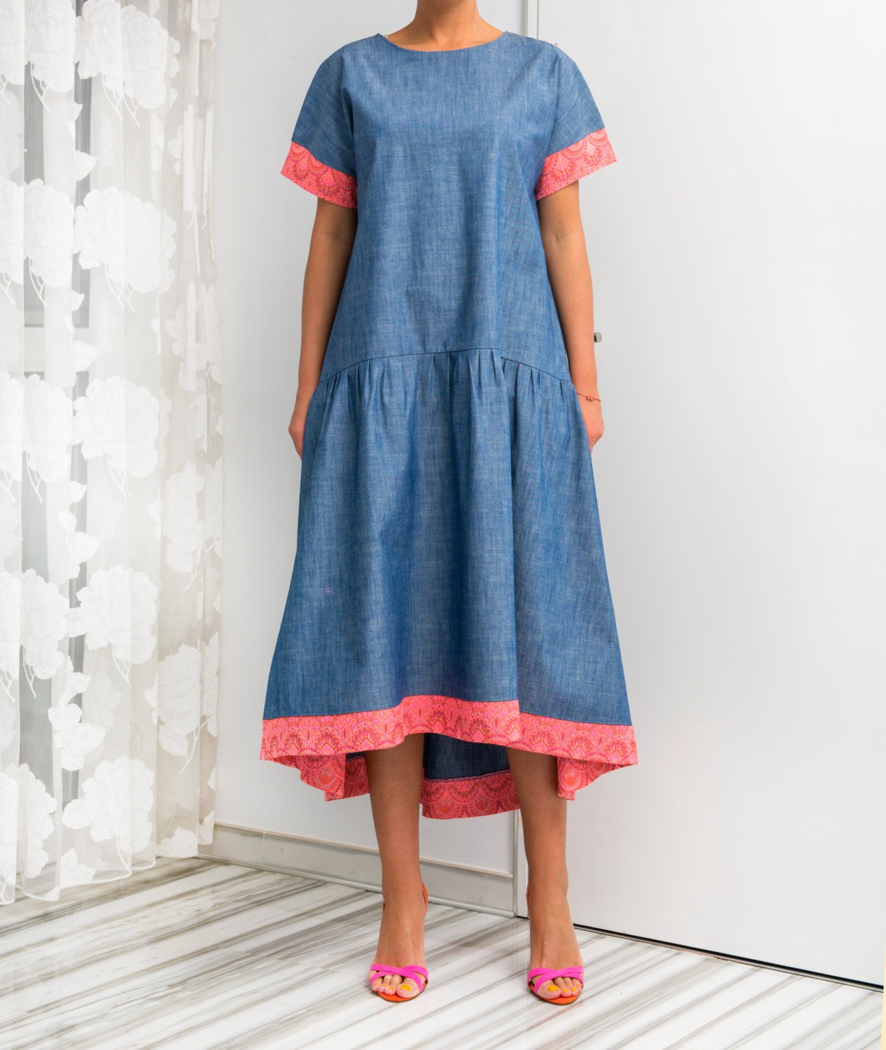 58e6189d98a Blue dress  Denim dress  Blue Maxi dress  Maxi dress boho  Spring dress  Plus  size Maxi dress  Plus size dress