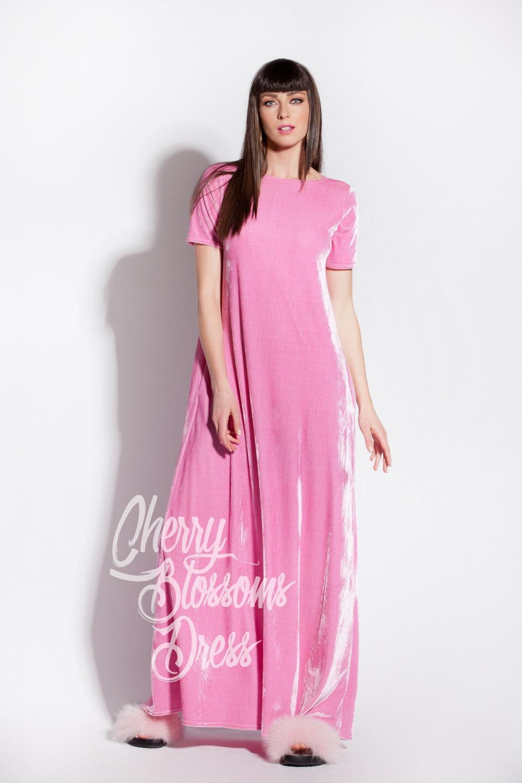 Cherry Blossoms Dresses | Pink dress/ Maxi dress/ Velvet Dress ...