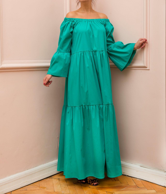 Cherry Blossoms Dresses | Green Maxi dress, Boho Dress, Plus size ...