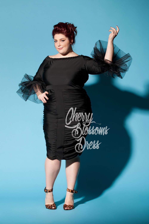 Cherry Blossoms Dresses | Plus size dress/ Plus size black dress ...