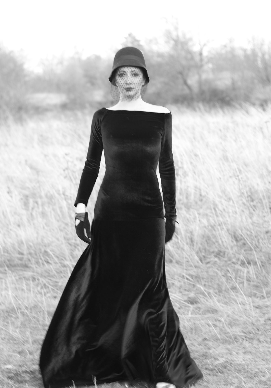 Cherry Blossoms Dresses   Black Velvet dress/ Velvet dress/ Evening ...