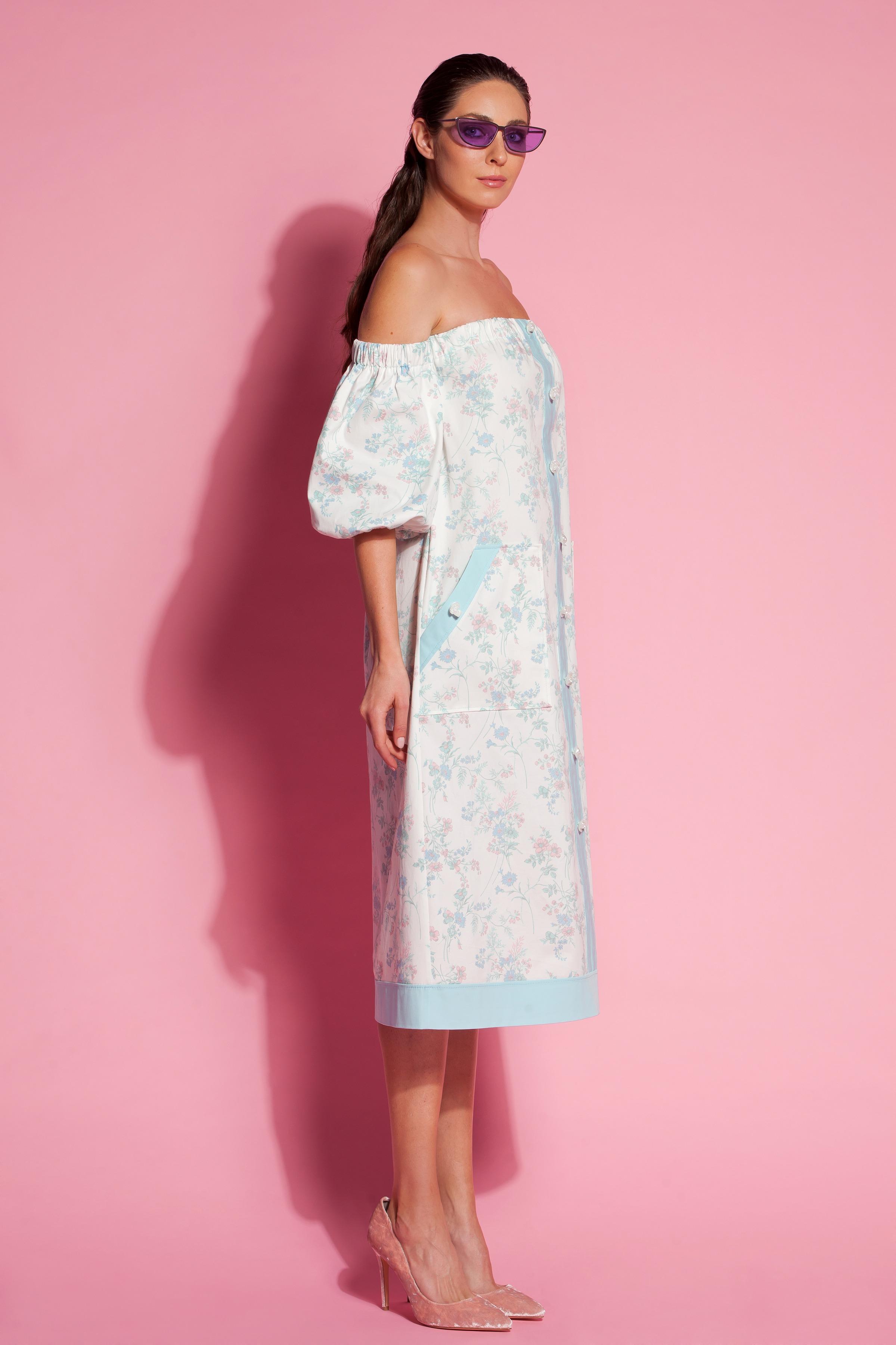 f75db11f1f59 Floral Cotton Off the shoulders Midi Dress