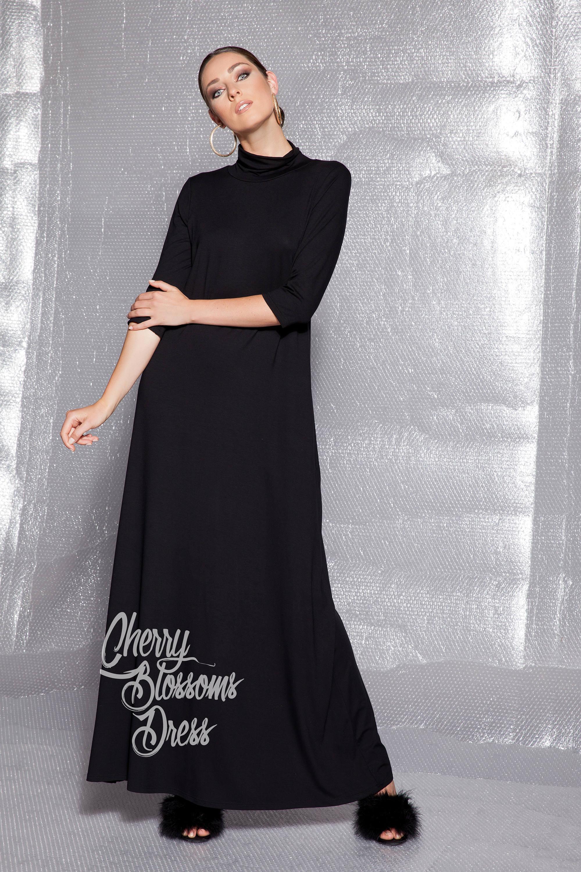 a490401b2970 Long Black Maxi Dress   Saddha