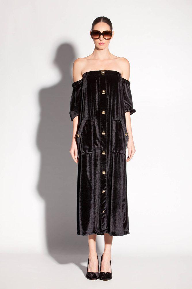 6794e167ae6 Black Elegant Velvet Off the Shoulders Midi Dress