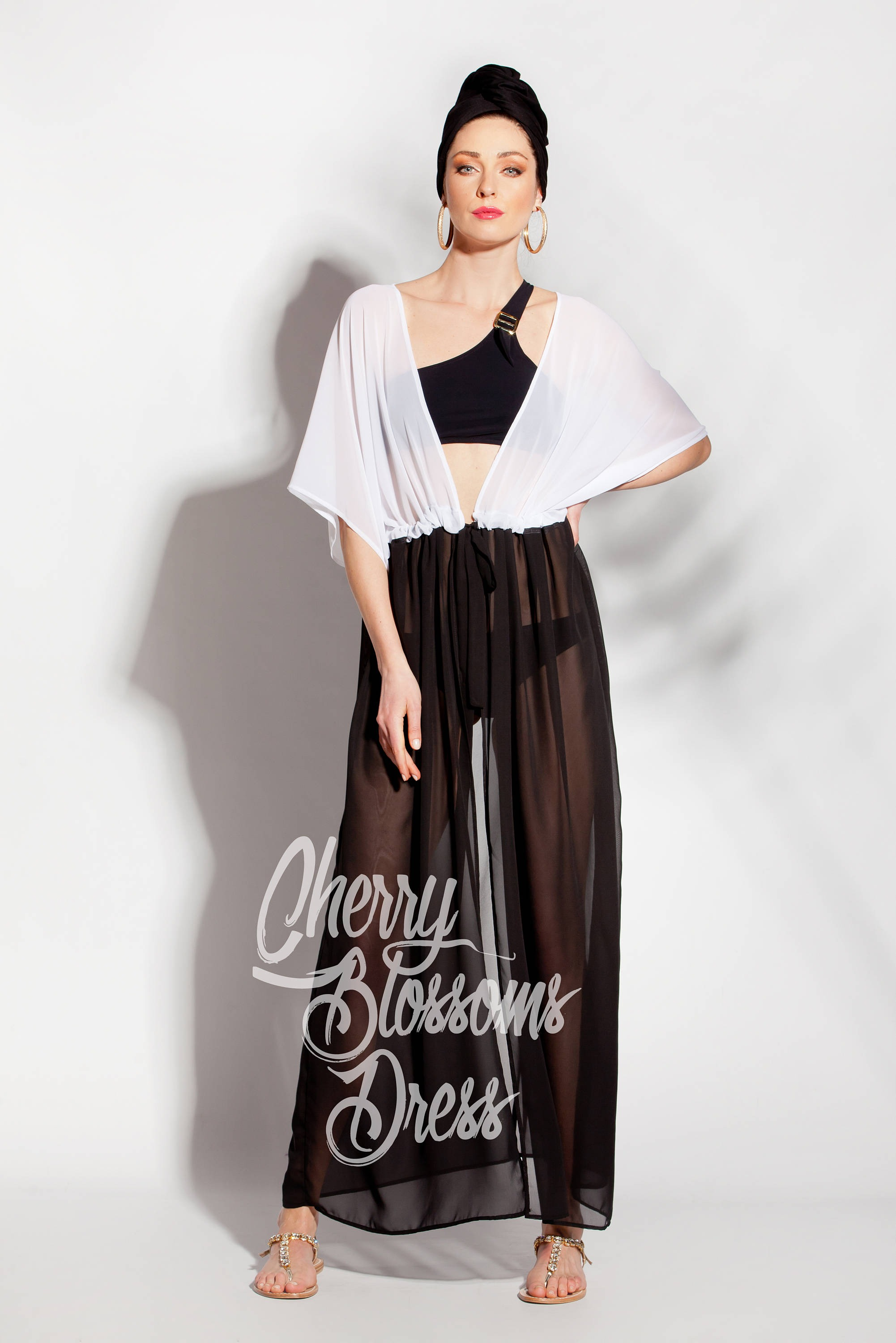 0deafc0f3147b Black and white Chiffon Cover up Dress | Cherry Blossoms Dresses